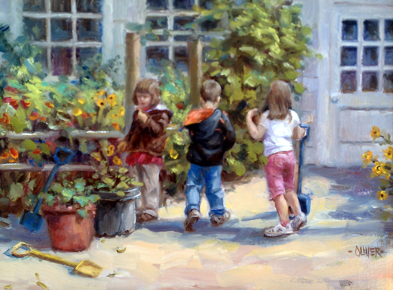 """Grandson and Friends"" original fine art by Julie Ford Oliver"