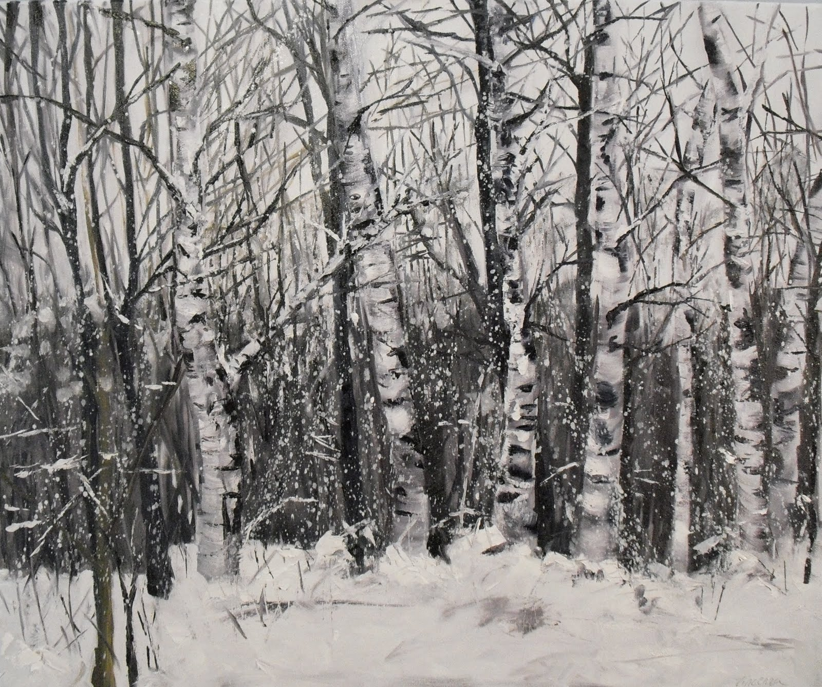 """Snowy Birch Trees~ 20x24~ oil on canvas"" original fine art by Vincenza Harrity"