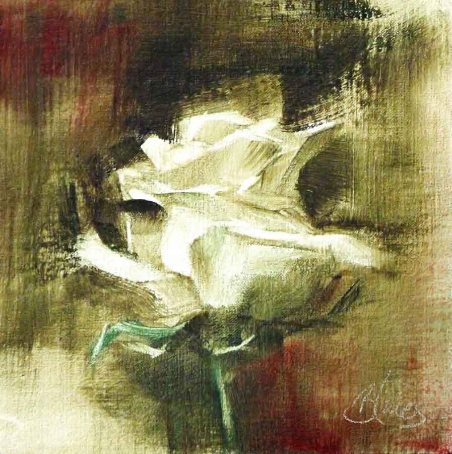 """White Rose Study 3"" original fine art by Pamela Blaies"