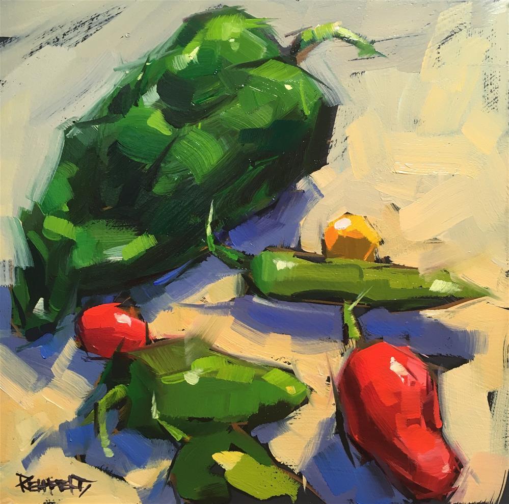 """Rainbow of Chiles"" original fine art by Cathleen Rehfeld"