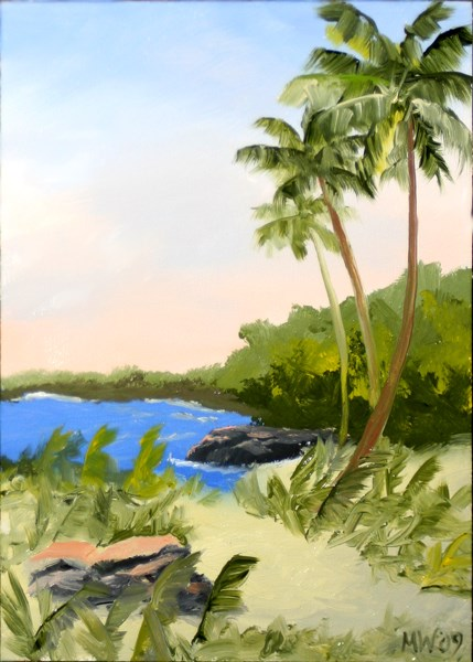 """Mark Webster - Hawaiian Coast with Palm Trees - Landscape Painting"" original fine art by Mark Webster"