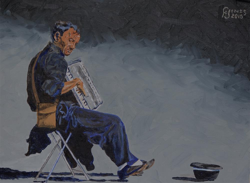 """Busker"" original fine art by Fred Jones"