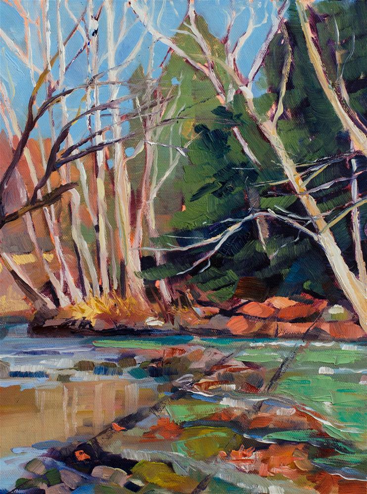 """Emerald Stream"" original fine art by Kathleen Gray Farthing"