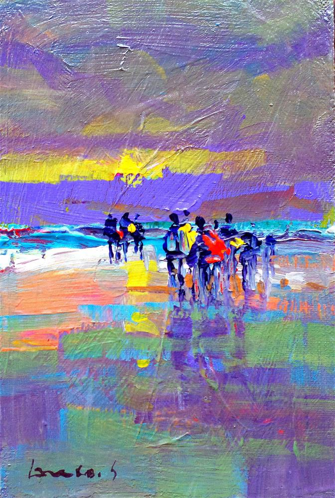 """Sunset on the beach"" original fine art by salvatore greco"