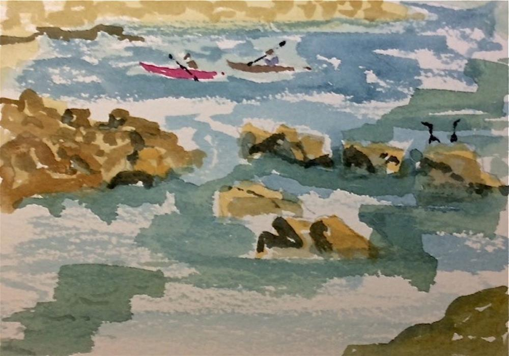 """Cormorants & Kayaks"" original fine art by Dana Richards"