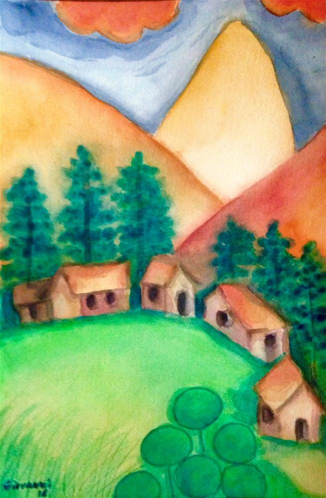 """Beautiful little town"" original fine art by Giovanni Antunez"