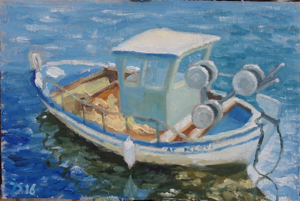 """Corfu boat"" original fine art by Yuriy Semyonov"