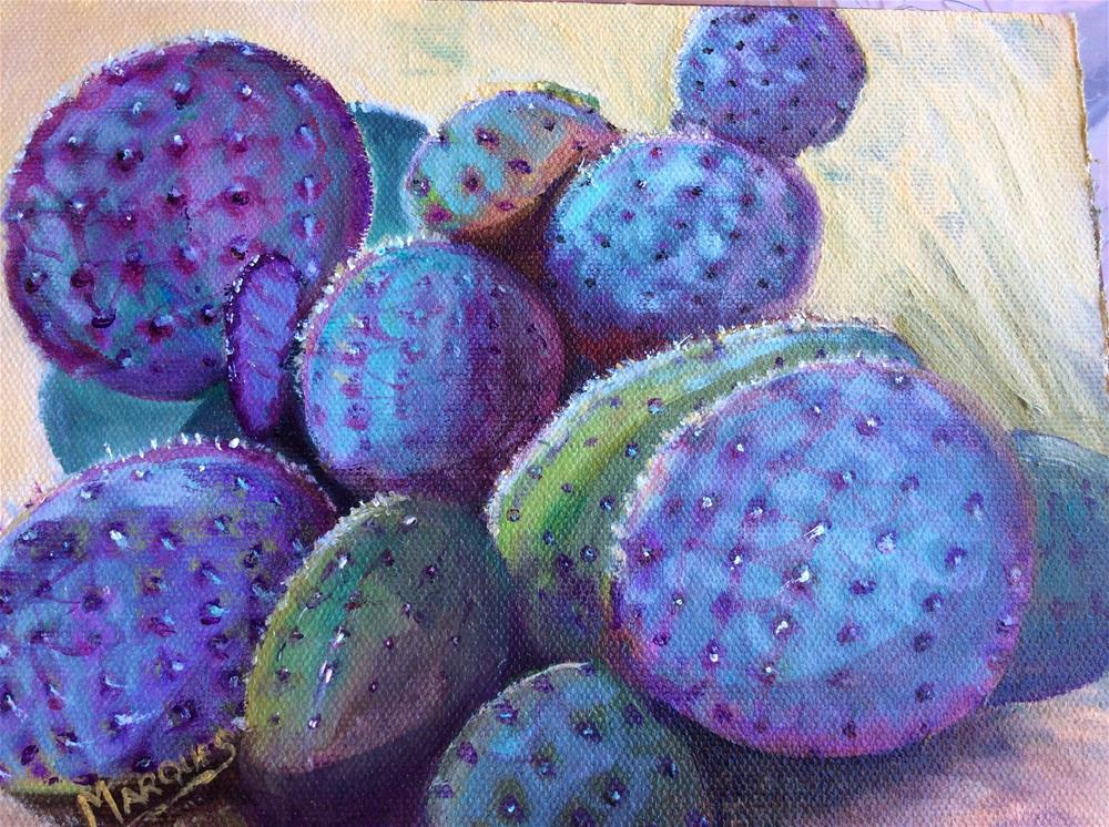 """Purple cactus"" original fine art by Kathy Marques"