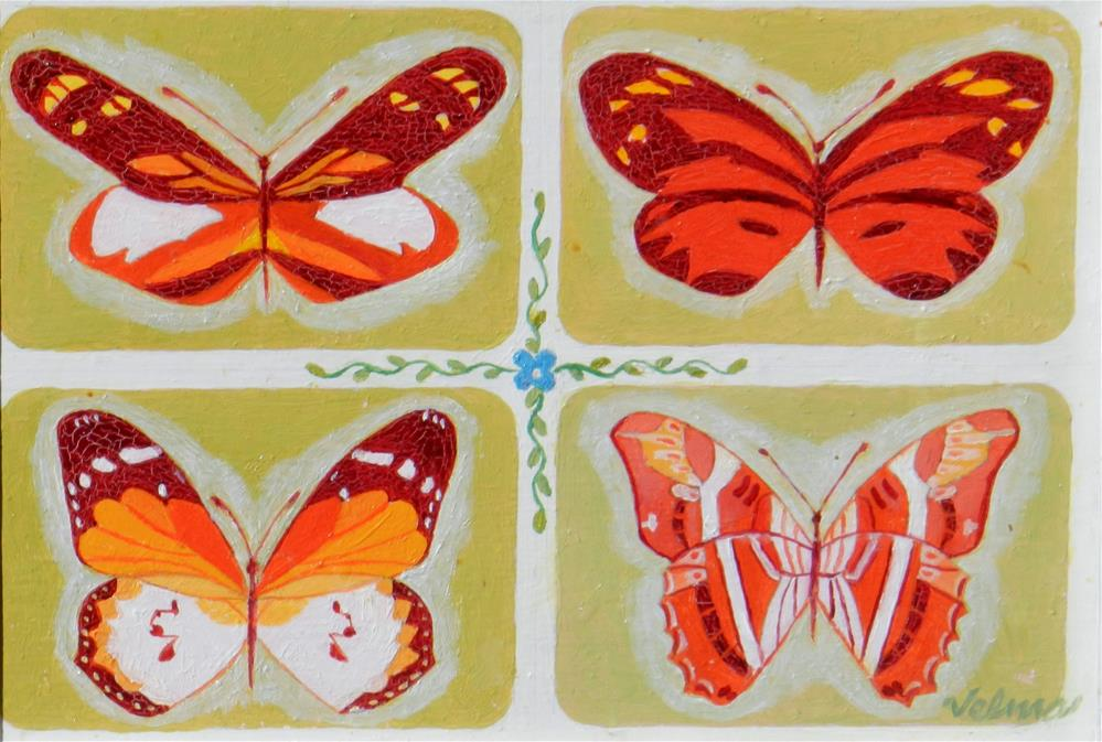 """Orange and Gold Butterfly #1"" original fine art by Velma Davies"