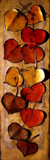 """GOLD AND RED LEAVES"" 12023, mixed media aspen leaves collage © Carol Nelson Fine Art original fine art by Carol Nelson"