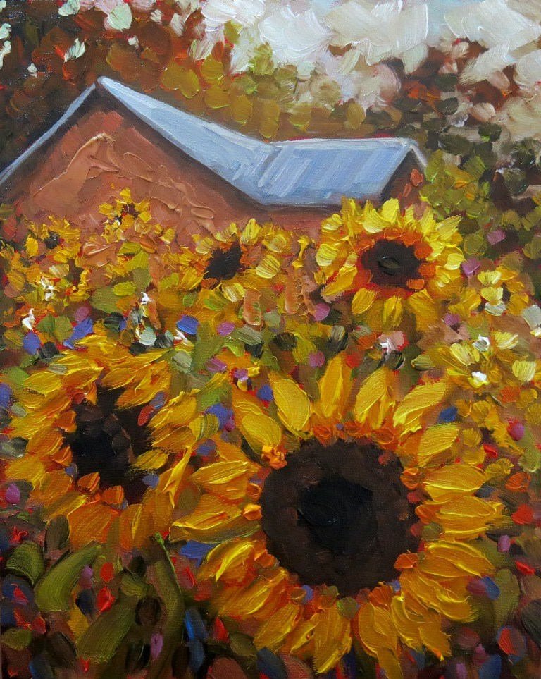 """#150 SUNFLOWER FIELD"" original fine art by Dee Sanchez"