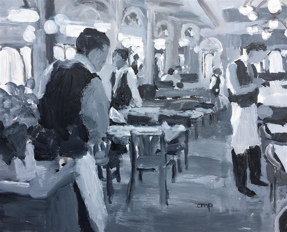 """Restaurant interior"" original fine art by Christine Parker"