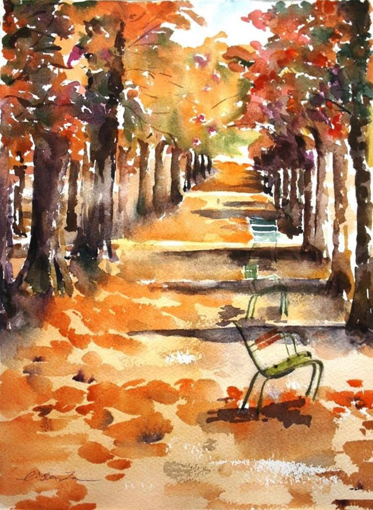 """Fall color of Paris"" original fine art by Lisa Fu"