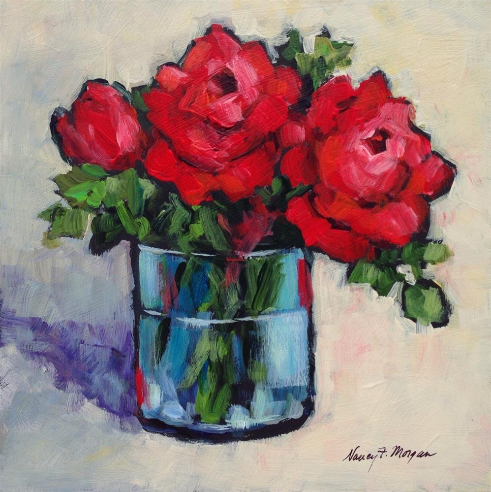 """Very Red Roses"" original fine art by Nancy F. Morgan"