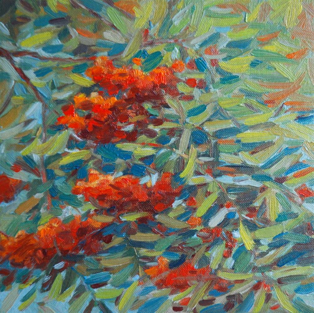 """""""Rowan Berries"""" original fine art by Olga Touboltseva-Lefort"""