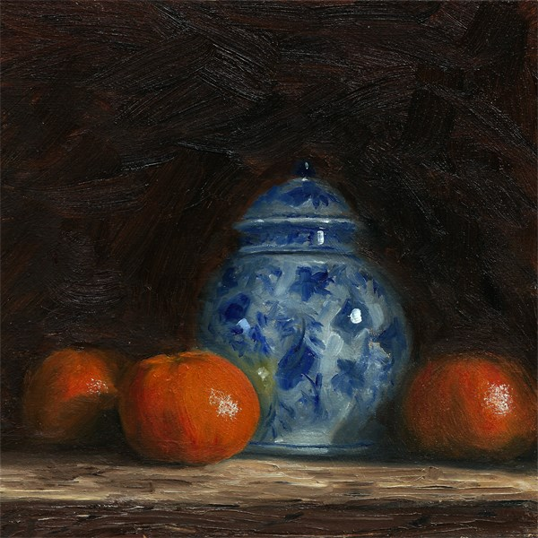 """Ginger jar with clementines"" original fine art by Peter J Sandford"