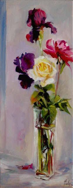 """Bouquet à la rose jaune"" original fine art by Evelyne Heimburger Evhe"