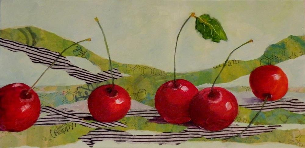 """CHERRIES 5 ORIGINAL MIXED MEDIA ON GALLERY WRAP CANVAS © SAUNDRA LANE FINE ART"" original fine art by Saundra Lane Galloway"