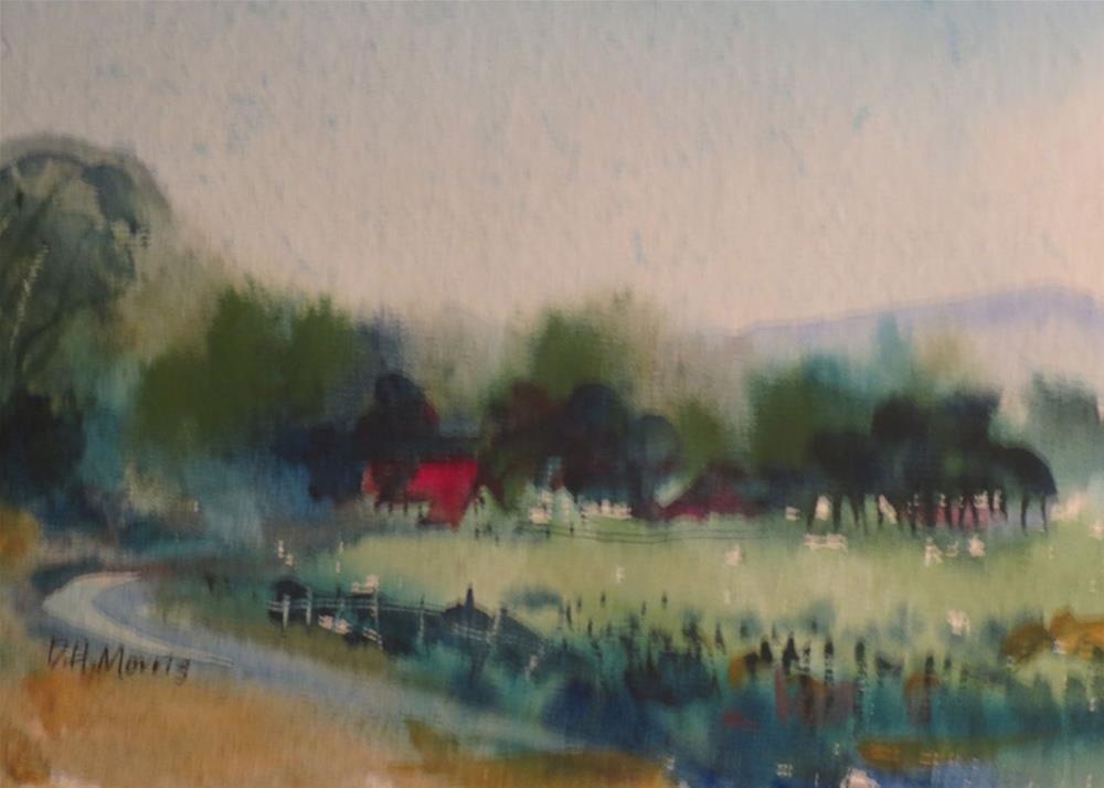 """Red Roof in the Rain"" original fine art by Dann Morris"