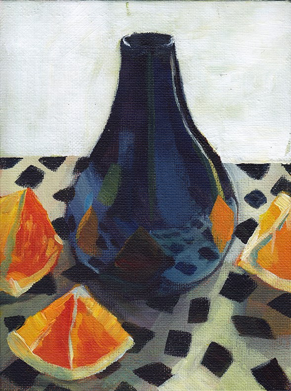 """Purple Vase with Oranges"" original fine art by J M Needham"