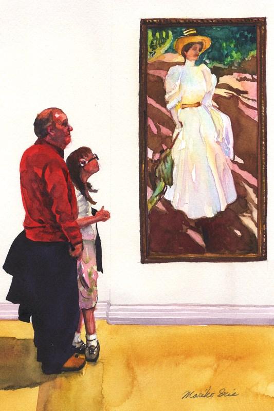 """Sorolla with Grandpa"" original fine art by Mariko Irie"