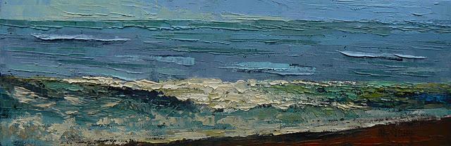"""Palette Knife Seascape in Oil, 4x12 Tropical Waters"" original fine art by Carol Schiff"