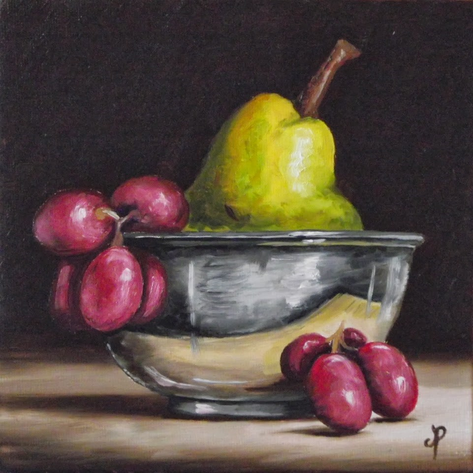 """Silver bowl with fruit"" original fine art by Jane Palmer"