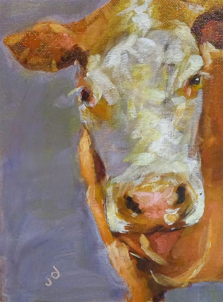 """Cow 14"" original fine art by Jean Delaney"