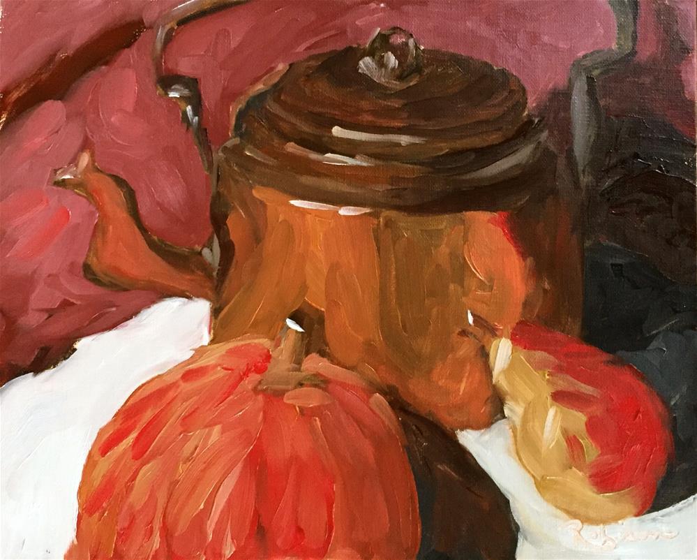 """""""Zorn Pallette Pumpkin Still Life"""" original fine art by Renee Robison"""