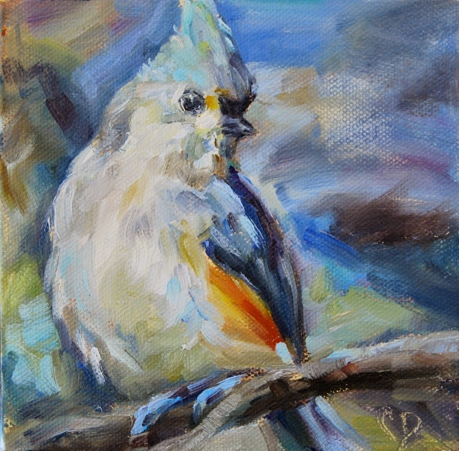 """Tufted Titmouse, Original oil by Carol DeMumbrum"" original fine art by Carol DeMumbrum"