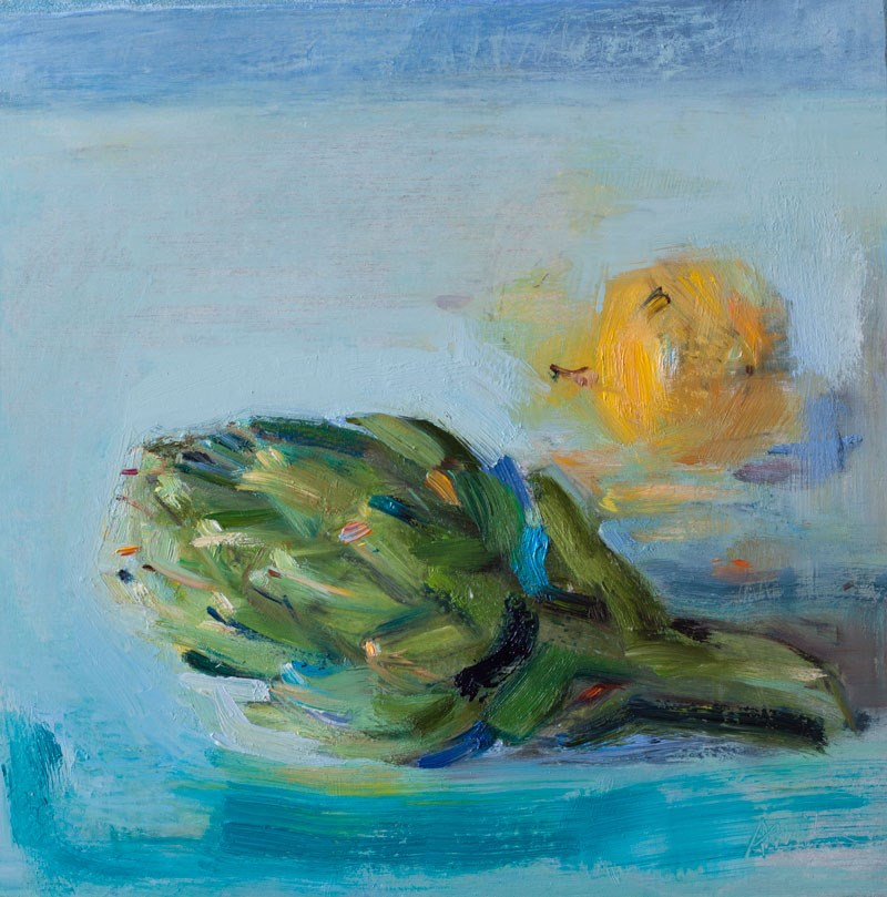 """An Artichoke and a Lemon"" original fine art by Anna  Fine Art"