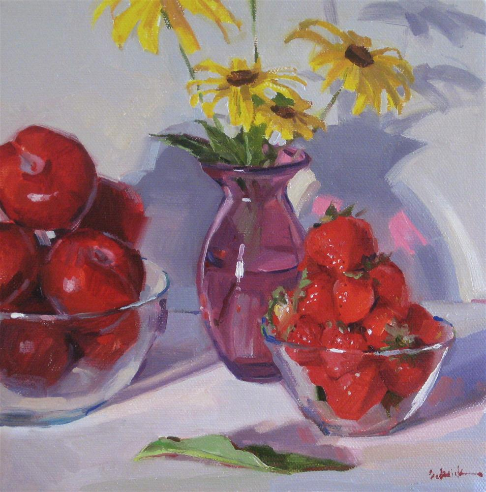 """Fruit Bowls with Black-Eyed-Susans"" original fine art by Sarah Sedwick"