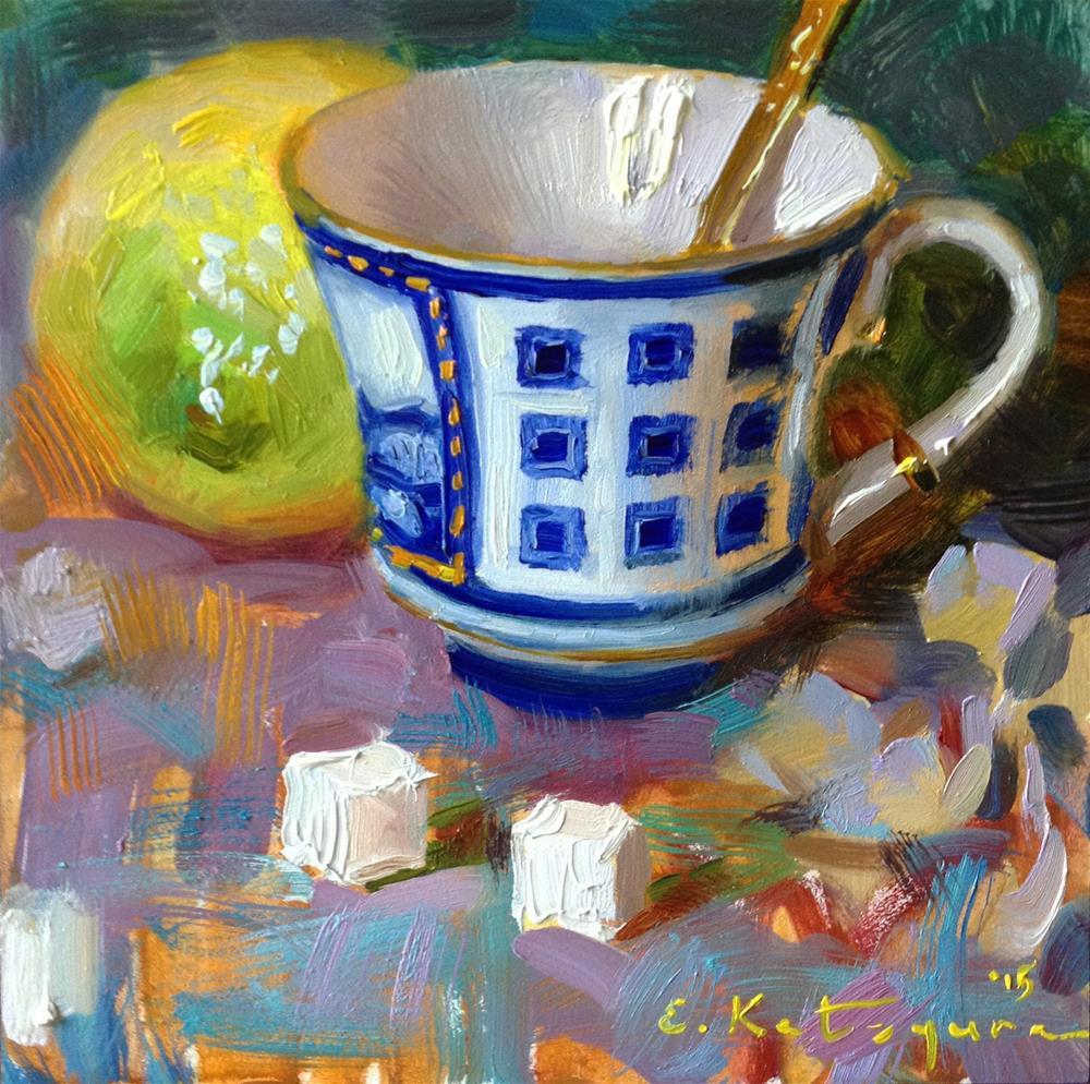 """Summer Afternoon Tea"" original fine art by Elena Katsyura"
