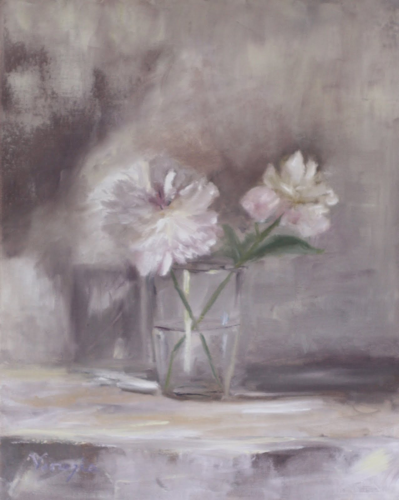 """Still Life Oil Painting with Two White Peonies in Glass"" original fine art by Carrie Venezia"