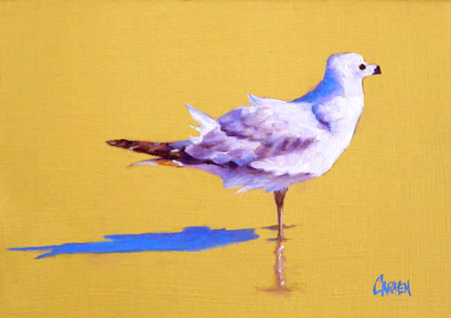 """Gull on Gold"" original fine art by Carmen Beecher"