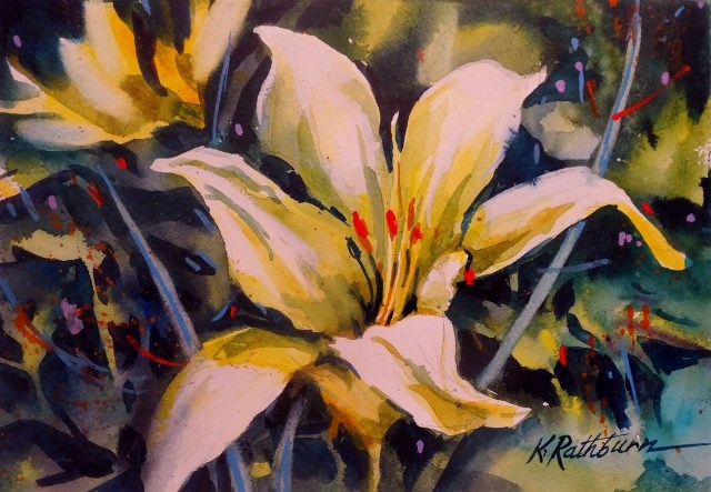 """Yelow Lily"" original fine art by Kathy Los-Rathburn"