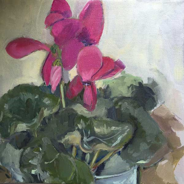 """Trader Joe's Cyclamen"" original fine art by Merle Manwaring"