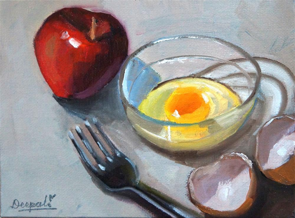 """egg apple fork"" original fine art by Dipali Rabadiya"