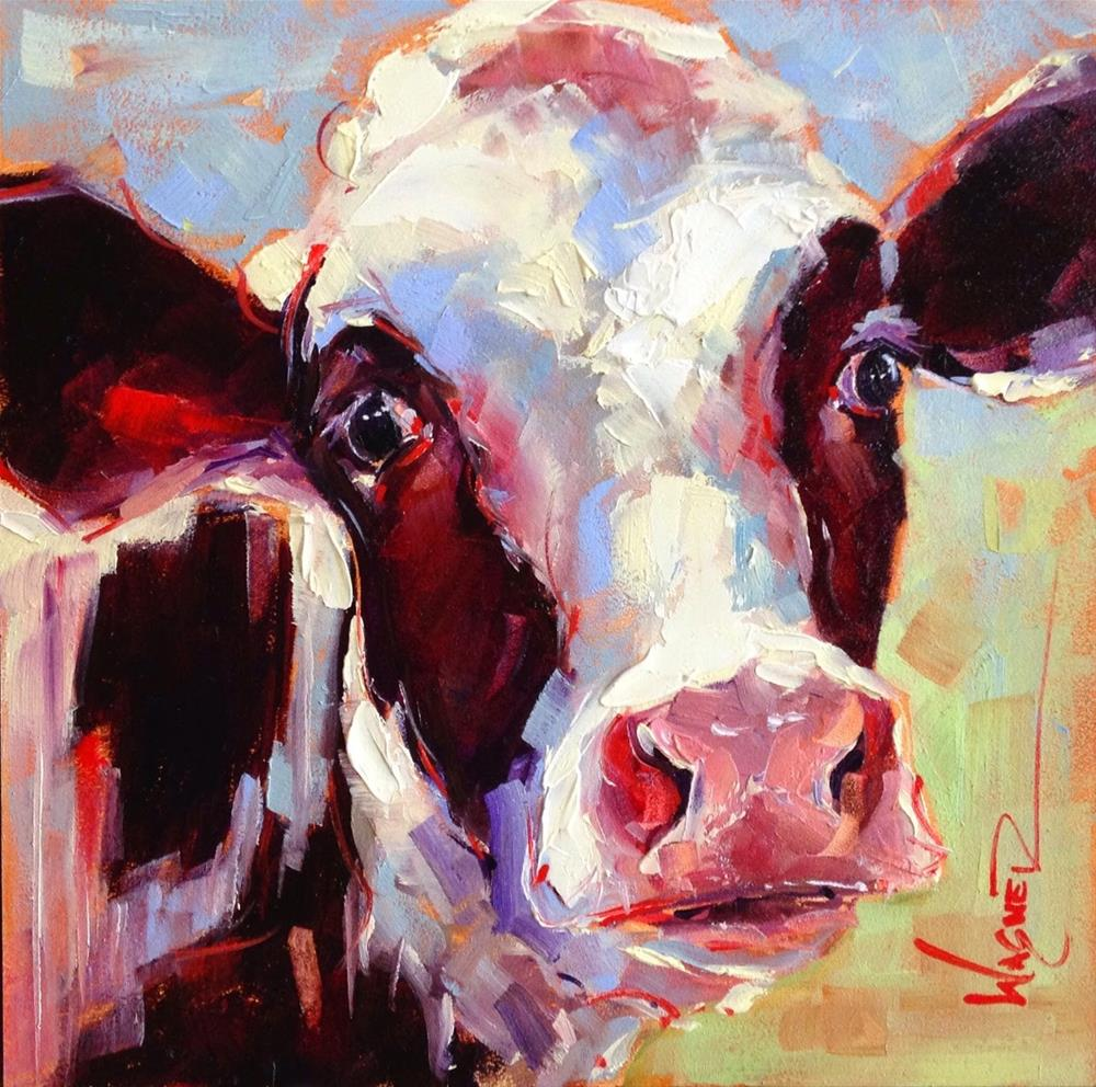 """ORIGINAL CONTEMPORARY BLACK AND WHITE COW PAINTING in OILS by OLGA WAGNER"" original fine art by Olga Wagner"