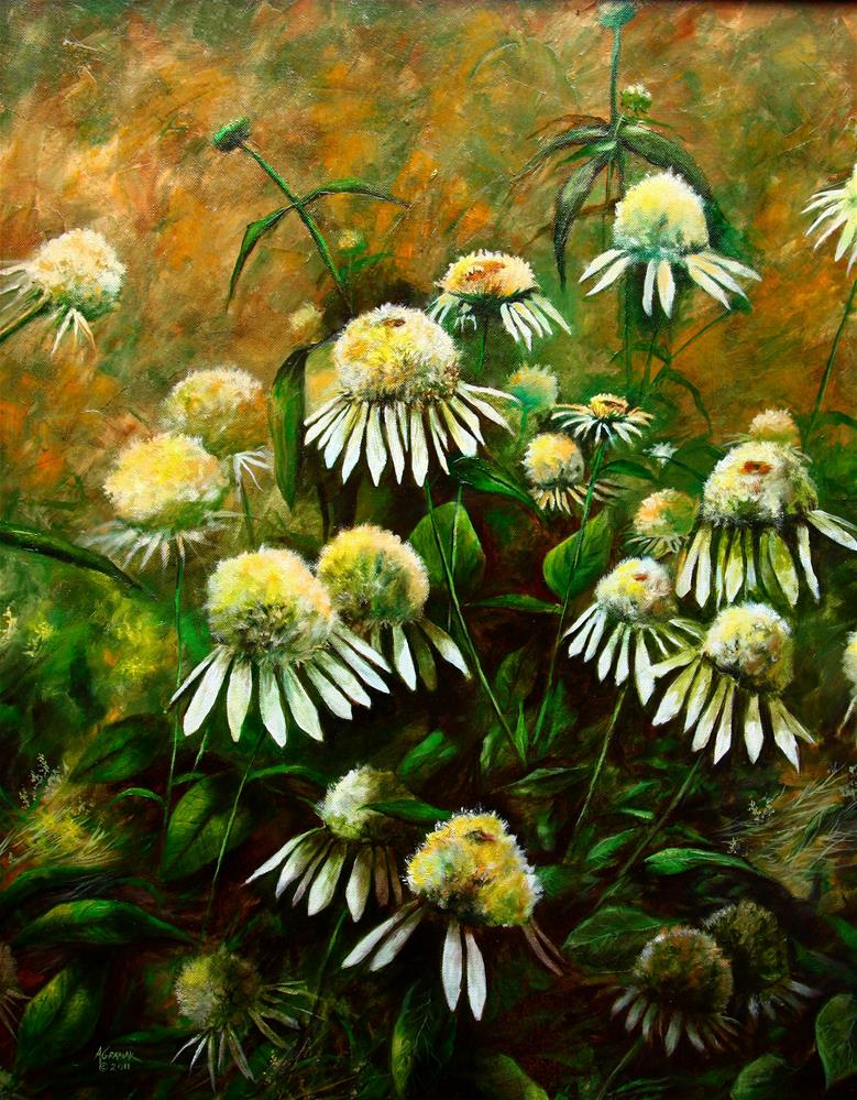 """Coconut Lime Coneflowers"" original fine art by Aaron Grabiak"