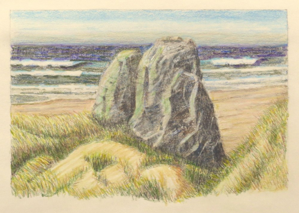"""Serpentine Sea Stacks"" original fine art by Richard Kiehn"