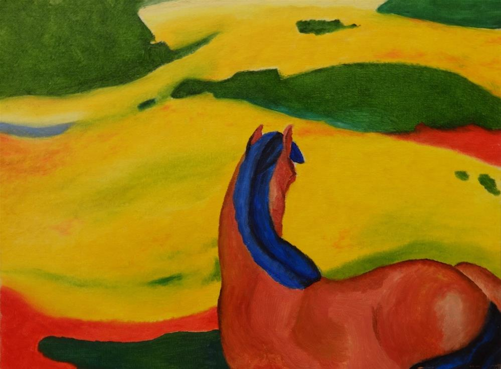 """0004 - Horse in a Landscape after Franz Marc"" original fine art by Sea Dean"