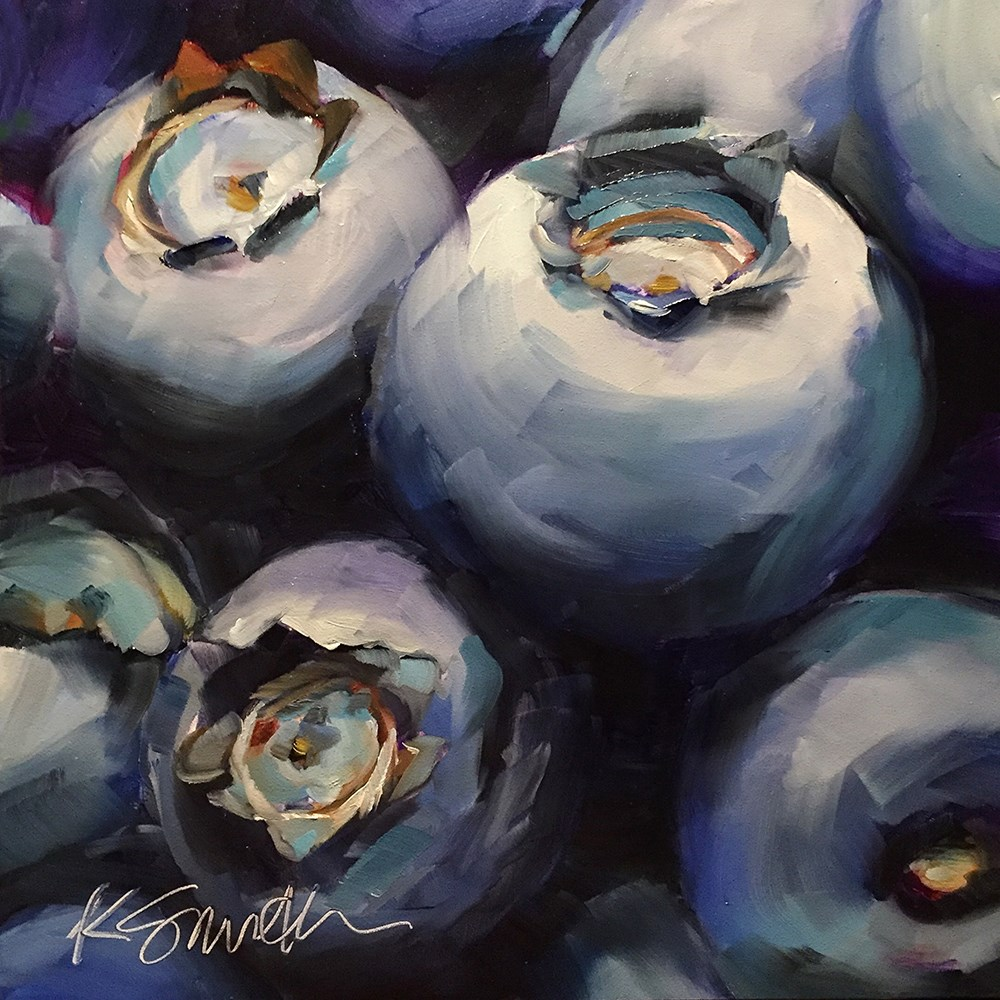 """A love affair with blueberries"" original fine art by Kim Smith"