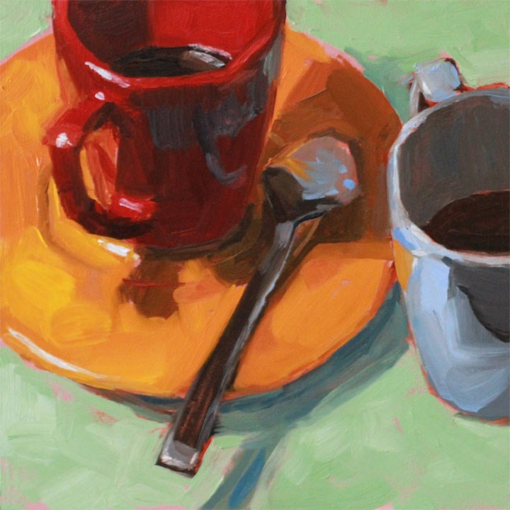 """""""Red and Blue Cups"""" original fine art by Nealy May Riley"""