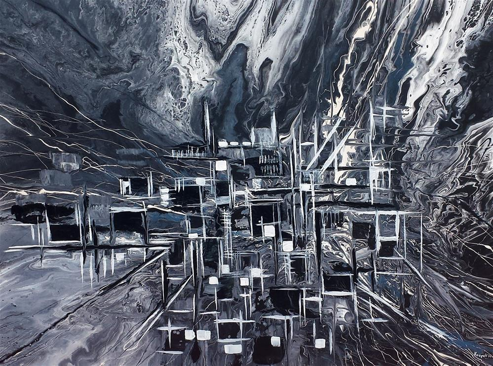 """Abstract City"" original fine art by Khrystyna Kozyuk"