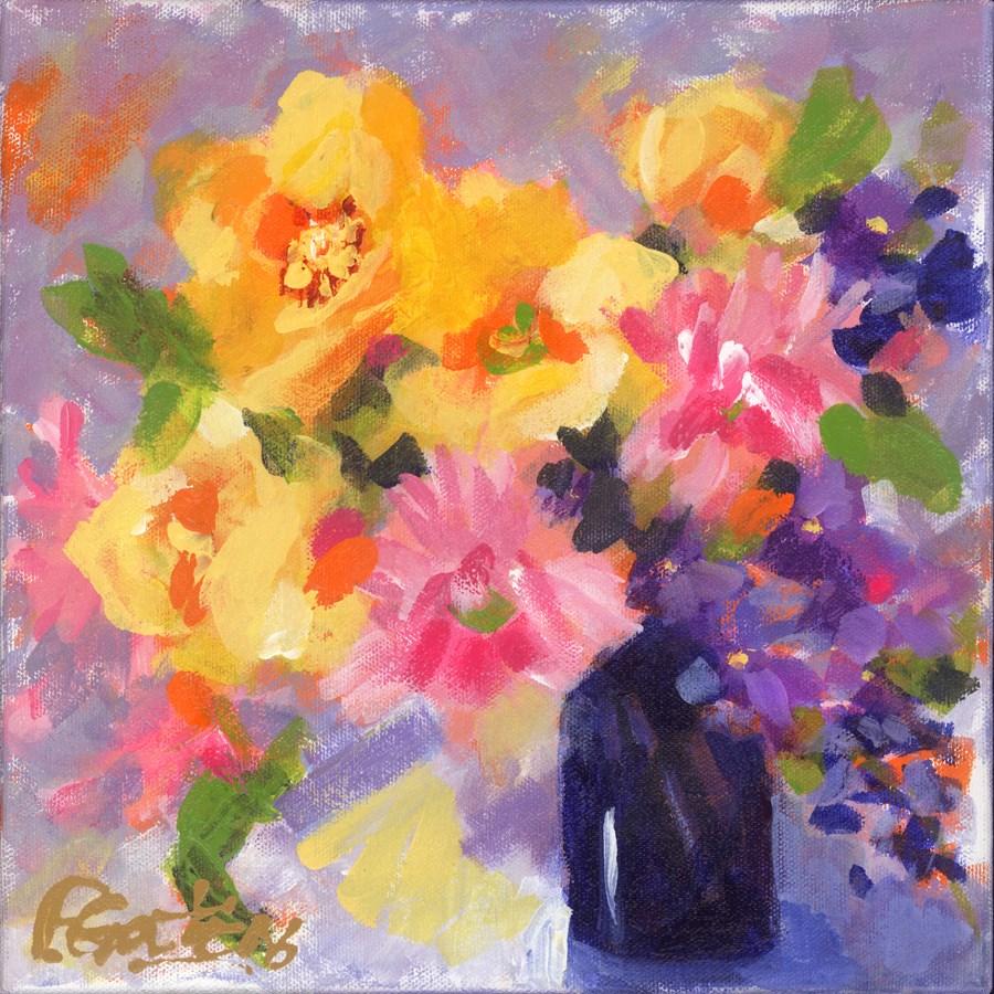 """Pink and Yellow"" original fine art by Pamela Gatens"