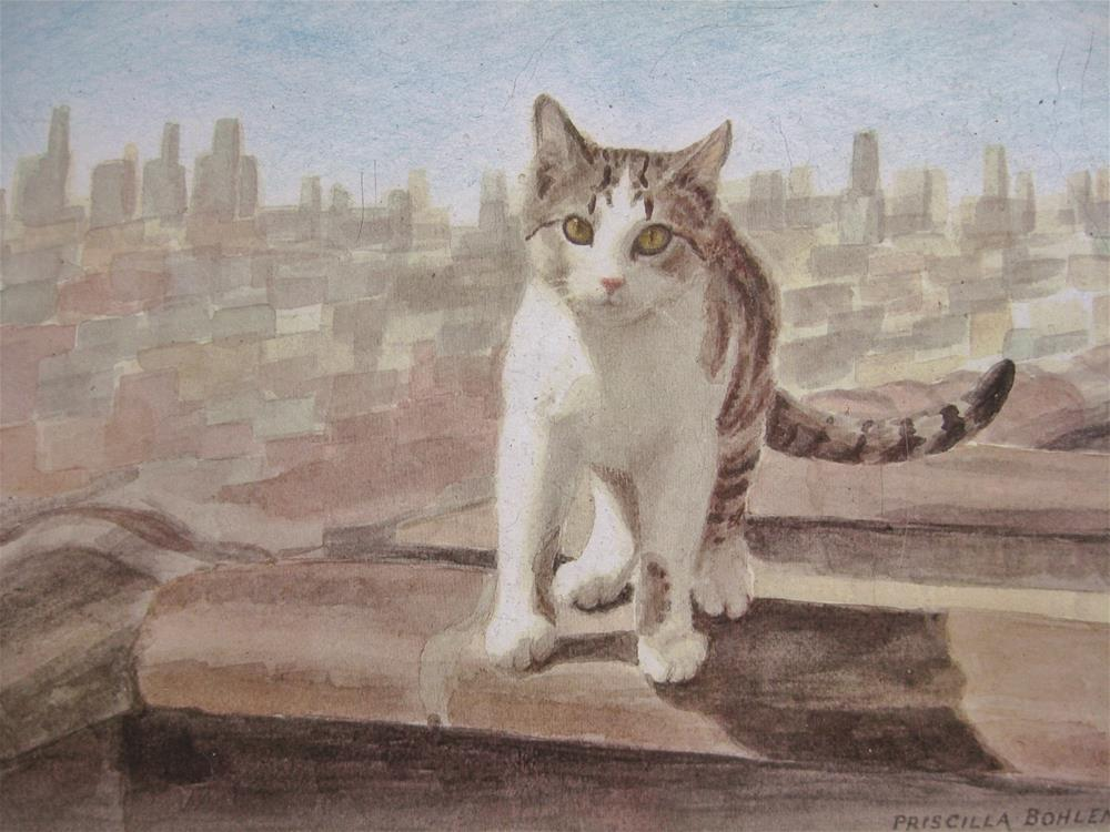 """Cat on Hot Brick Roof"" original fine art by Priscilla Bohlen"