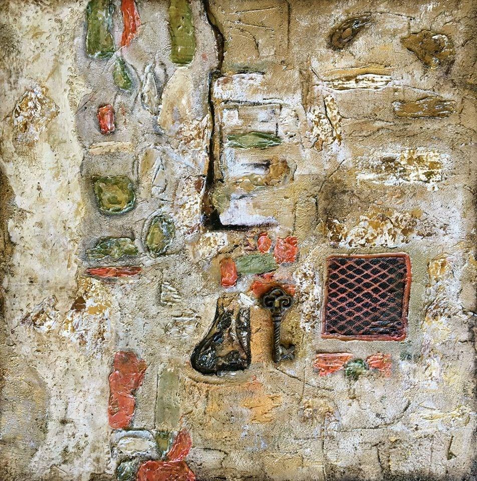 """""""Italy,Mixed Media Fine Art Painting The Secrets of Cortona by International Abstract Artist Kimber"""" original fine art by Kimberly Conrad"""