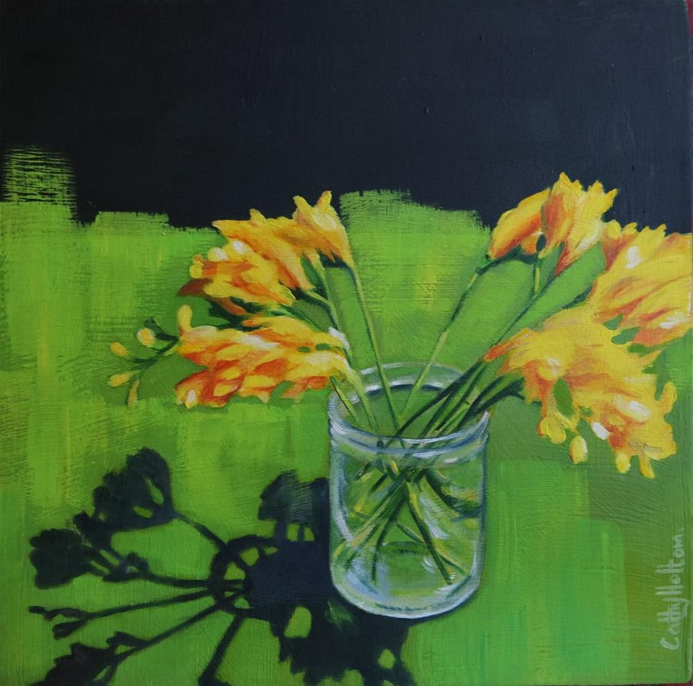 """Yellow Freesias"" original fine art by Cathy Holtom"
