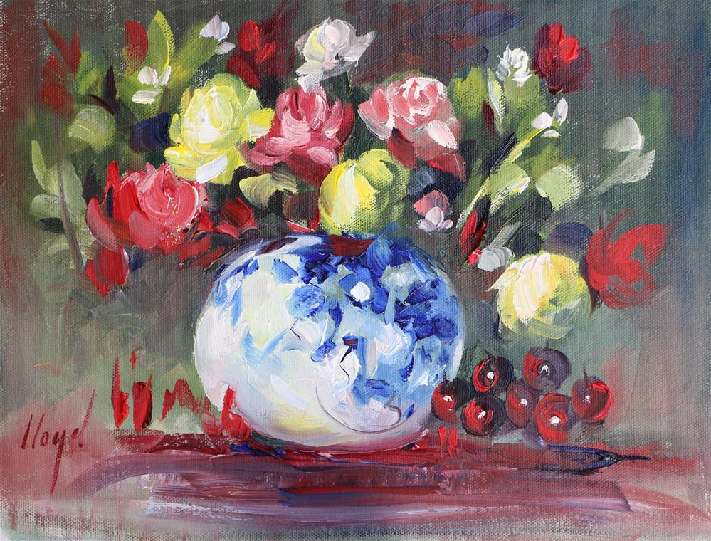 """Blue and White Vase with Flowers"" original fine art by Diane Lloyd"